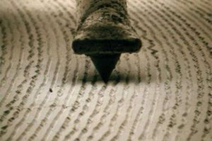Vinyl needle magnified by Unknown Author